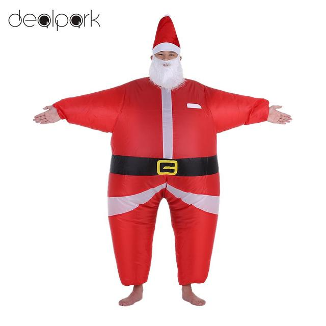 Funny Christmas Inflatable Santa Claus Costume Jumpsuit Air Fan Operated  Blow Up Xmas Suit Christmas Party - Funny Christmas Inflatable Santa Claus Costume Jumpsuit Air Fan