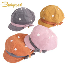 New Baby Girl Hat with Bow Japanese-Korean for Girls White Dot Cotton Children Hats Autumn Winter Beret Kids Cap
