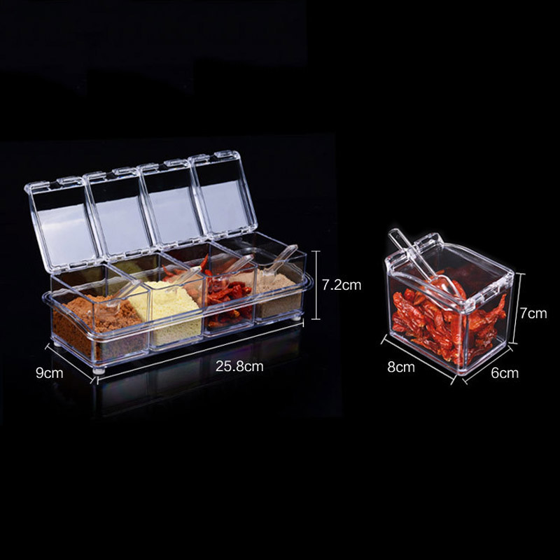 4Pcs Acrylic Table Spice Set Seasoning Box Spice Jar Bottle Condiment Storage Jar Kitchen Supplies TB Sale