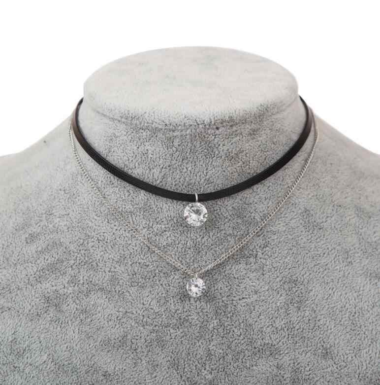 Новый модный кожаный чокер, колье с кристальным шармом слой ожерелье s & Подвески для женщин девушек готическое колье ювелирные изделия