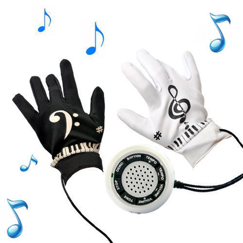 FLGT-Electronic Piano Gloves With Built-in Speaker Demo Melody Song Music Box Fun Toy Birthday Present
