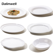 2017 Healthy Safe 100% A5 Melamine White Japanese-style Hotel Round Dish Fruit Bowl Western Food Fall Heat Resistant Snack Tray(China)