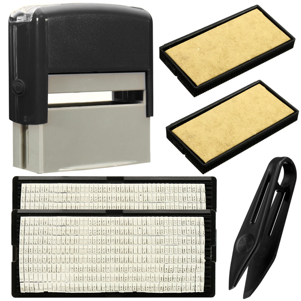 1 Pcs Custom Personalised Self Inking Rubber Stamp Kit Business Name Address DIY WXV Sale in Stamps from Home Garden
