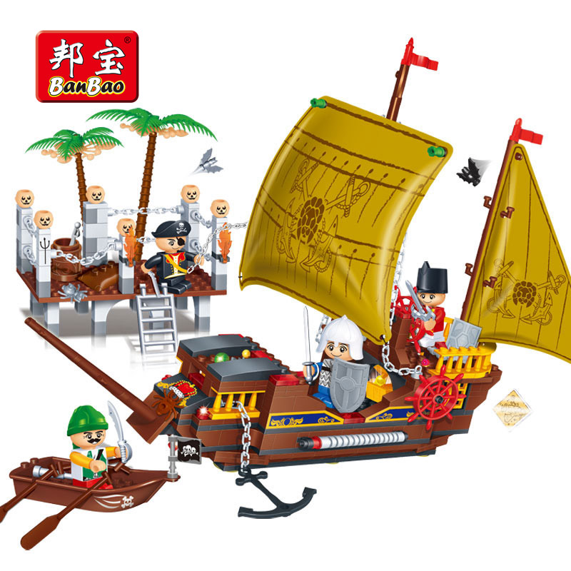 BanBao Caribbean Pirate Sailboat Ship Boat Educational Building Blocks Bricks Toy Model 8707 Children Kids Compatible With legoe enlighten 306 pirate ship scrap dock building blocks model toys compatible with lepin educational gift for children