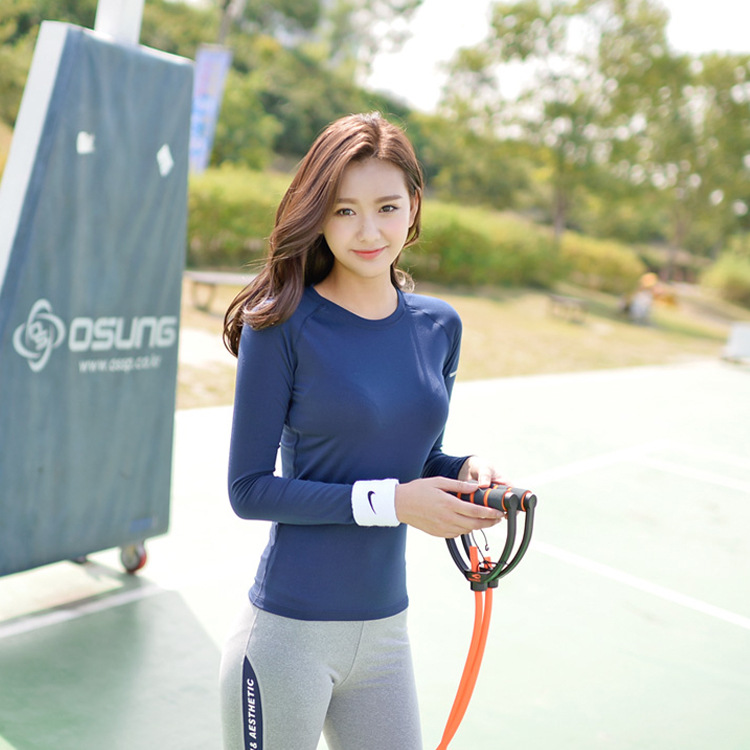 South Korea new yoga fitness service female autumn long sleeved T shirt high stretch tight sports