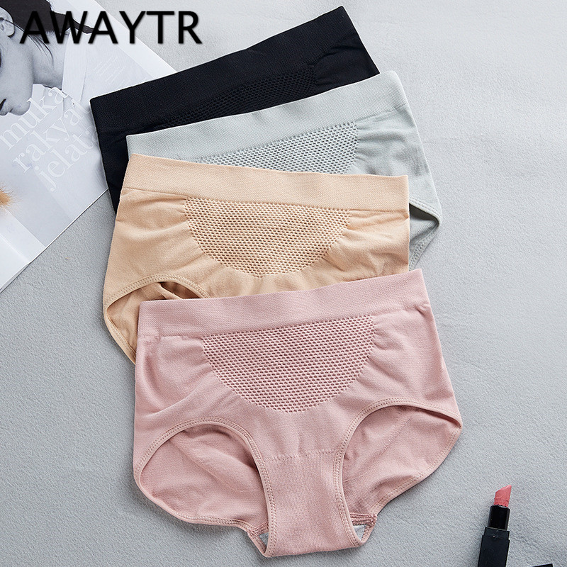 AWAYTR Sexy Breathable Panties Fashion Designer Body Hip Tummy Control Briefs Middle Waist Underwear Women's Knickers 4 Colors