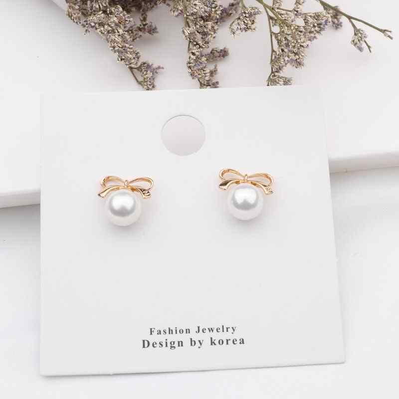 2019 nueva moda mujeres lindas perlas simuladas flor Stud Pendientes encantador estrella corazón coreano Pendientes elegante joyería