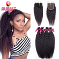 Virgin mongolian yaki hair 2 bundle with Closure kinky straight hair weave with Lace Closure weave  Queen Hair store best sale