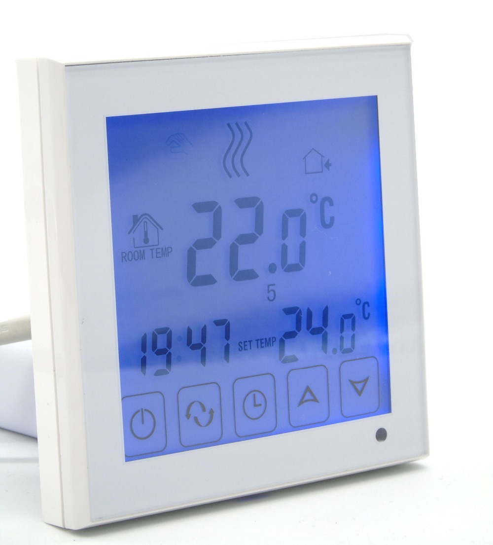 6+1 programmable EU floor heating thermostat room temperature controll with LCD touch 7 24h programmable adjustable thermostat temperature control switch with child lock