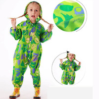 Green Children Jumpsuit Rain Coat Waterproof Kids Boys Girls Raincoat Hood Rain Suit Baby Rain Poncho Cocuk Yagmurluk 50yc108
