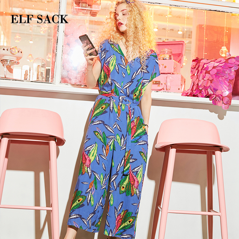 ELFSACK Korea New Style Elegant Rompers Womens Jumpsuit Loose Casual Straight Floral Print Jumpsuits Full Length Overalls