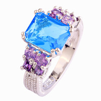 Resplendent  Women Rings Emerald Cut Blue Toapz 925 Silver Ring Size 7 New Fashion Jewelry  Wholesale Free Shipping
