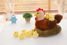 large 35cm hen & 6 pieces small chicken plush toy lovely chicken soft doll,baby toy ,birthday present Xmas gift c683