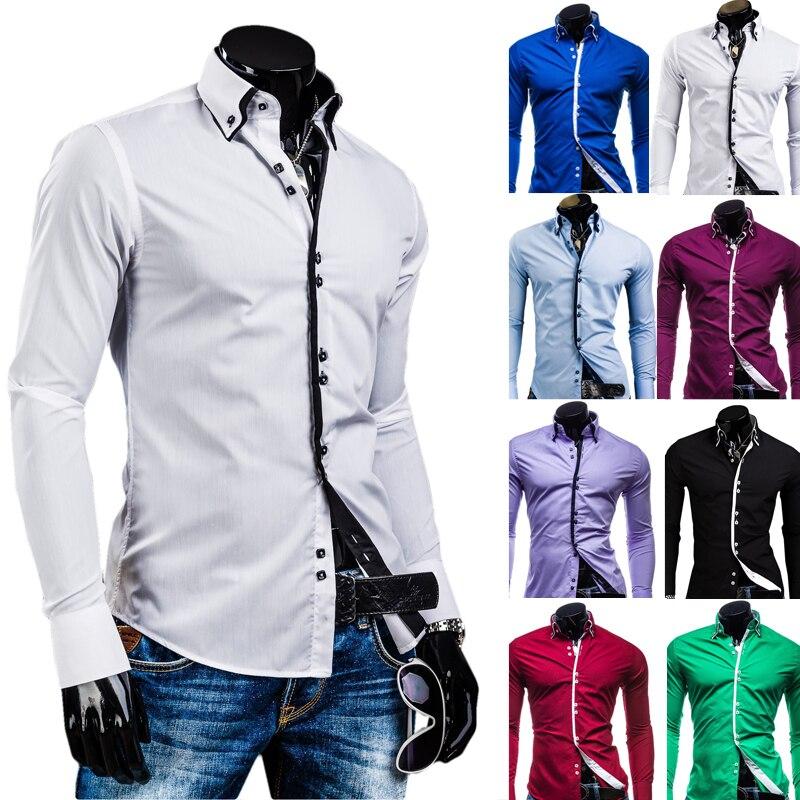 Мужчины рубашка люксовый бренд 2017 мужчин с длинным рукавом рубашки повседневные твердые мульти-кнопка хитов цвет slim fit рубашки мужские гавайских xxl