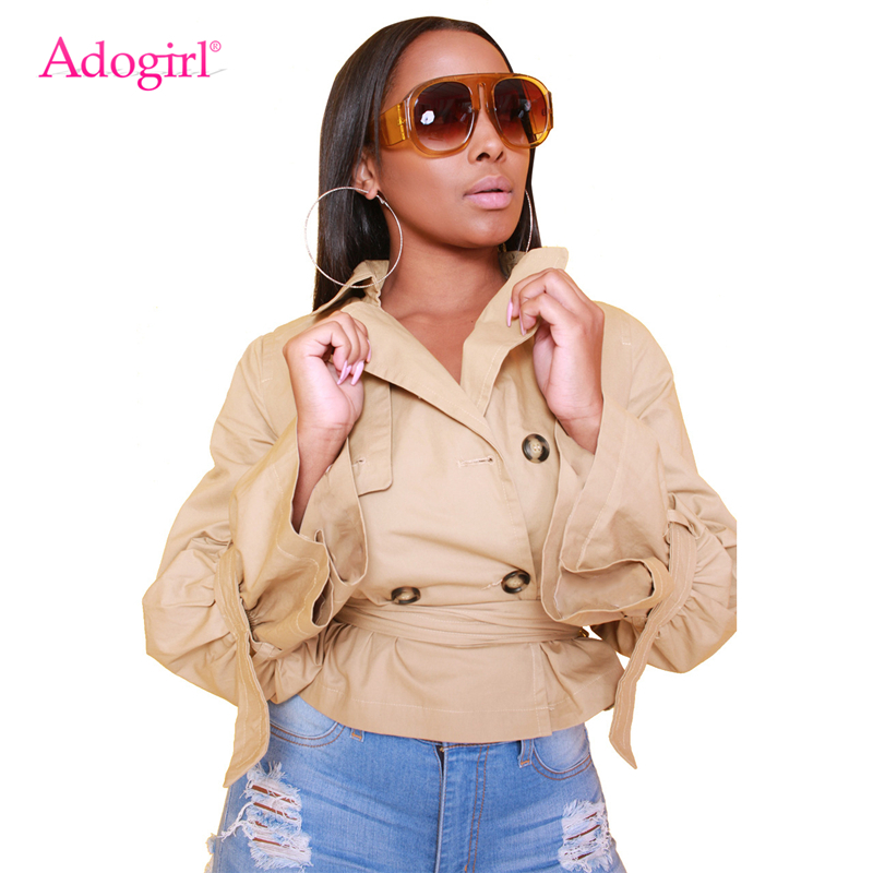 041ebfbb3457 Adogirl Solid Khaki Women Short Trench Coat Double Breasted Turn Dow Collar  Long Sleeve Outerwear with