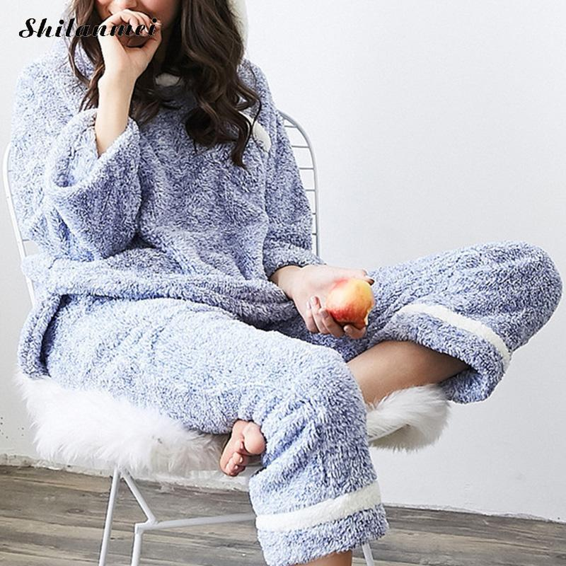 2018 Flannel Fleece Winter Women Pajama Sets sleepwear Thick and comfortable Women pijama feminino rabbit Pyjamas maternity pajama hot robes autumn winter pregnant woman unisex home coral fleece pajama comfortable solid pockets women bathrobe