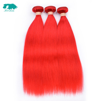Allrun Malaysian Straight Hair Weave Bundles Double Weft 3 Bundles Human Hair Extensions Non Remy Hair Weave 10 24Red Hair