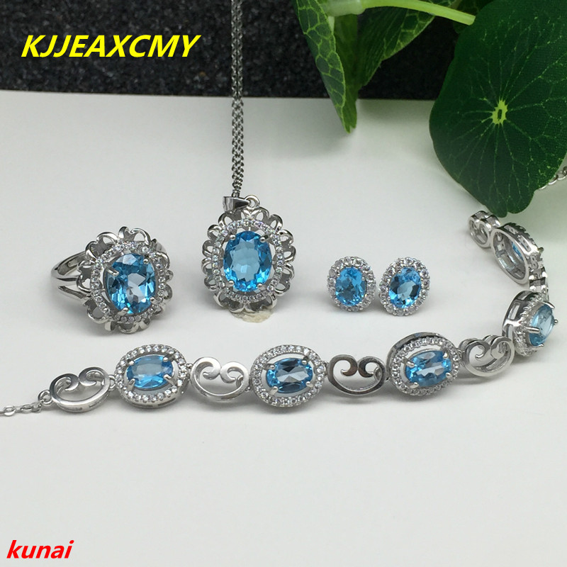 KJJEAXCMY boutique jewels 925 silver inlaid with natural blue topaz ring pendant earrings bracelet lady suit for necklace. a suit of gorgeous rhinestoned flower necklace bracelet earrings and ring for women