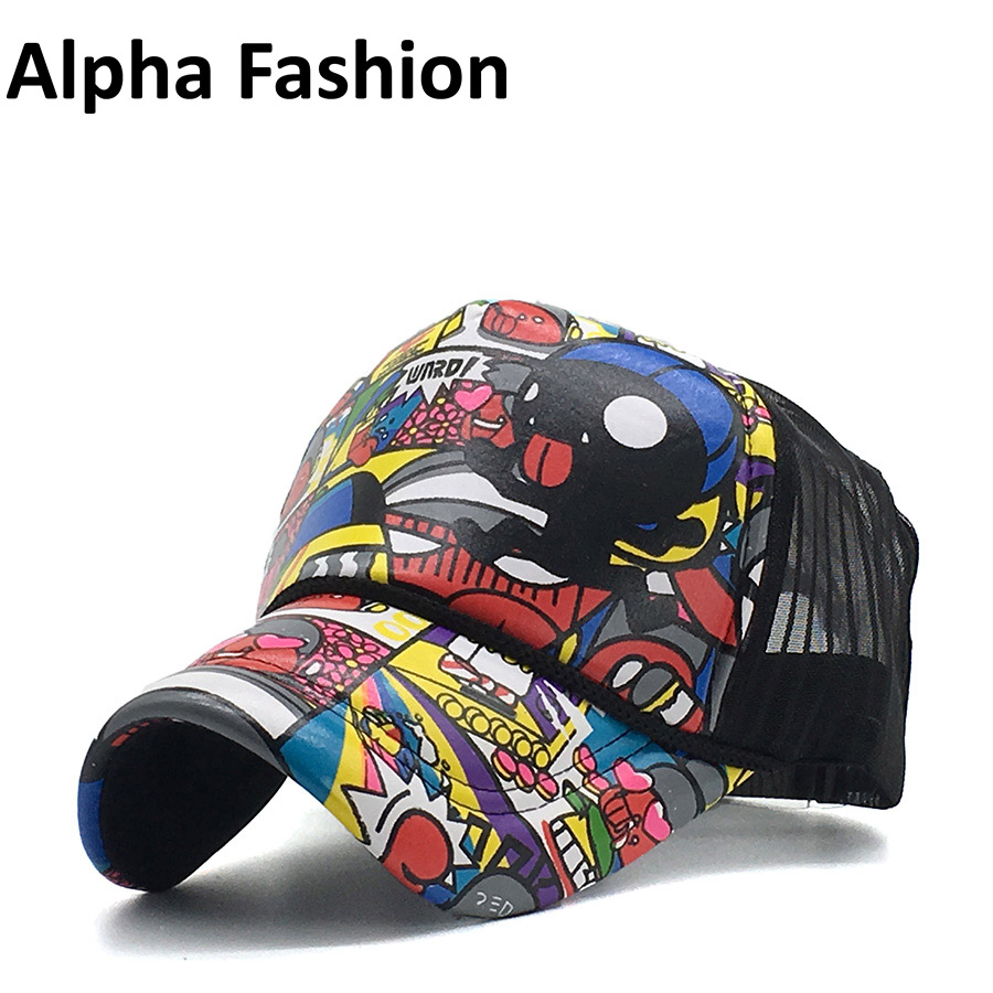Alpha Fashion Branded Spring Summer Mesh Cap Trucker Hats Hip Hop Dad Hat Baseball Caps Men Women Outdoor Adjustable Wholesale 2018 cc denim ponytail baseball cap snapback dad hat women summer mesh trucker hats messy bun sequin shine hip hop caps casual