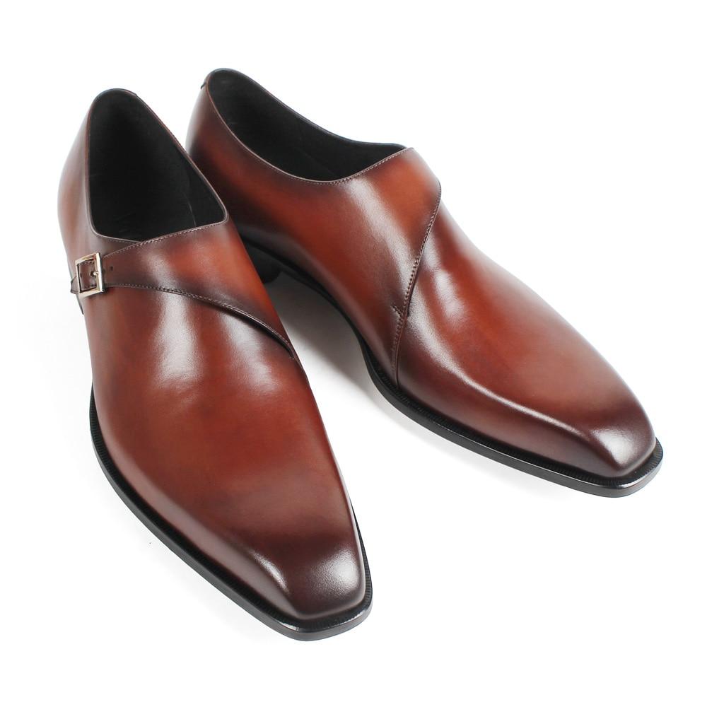 Vikeduo 2019 fait à la main marron mode luxe marque de mariage mâle Double moine chaussure en cuir véritable hommes formelle patine robe chaussures-in Chaussures d'affaires from Chaussures    3