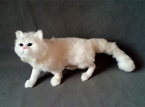 new white simulation standing cat toy resin&fur big cat model gift about 55x23cm 1024 simulation animal large 30x25 cm lovely cat model lifelike white cat with long tail decoration gift t474