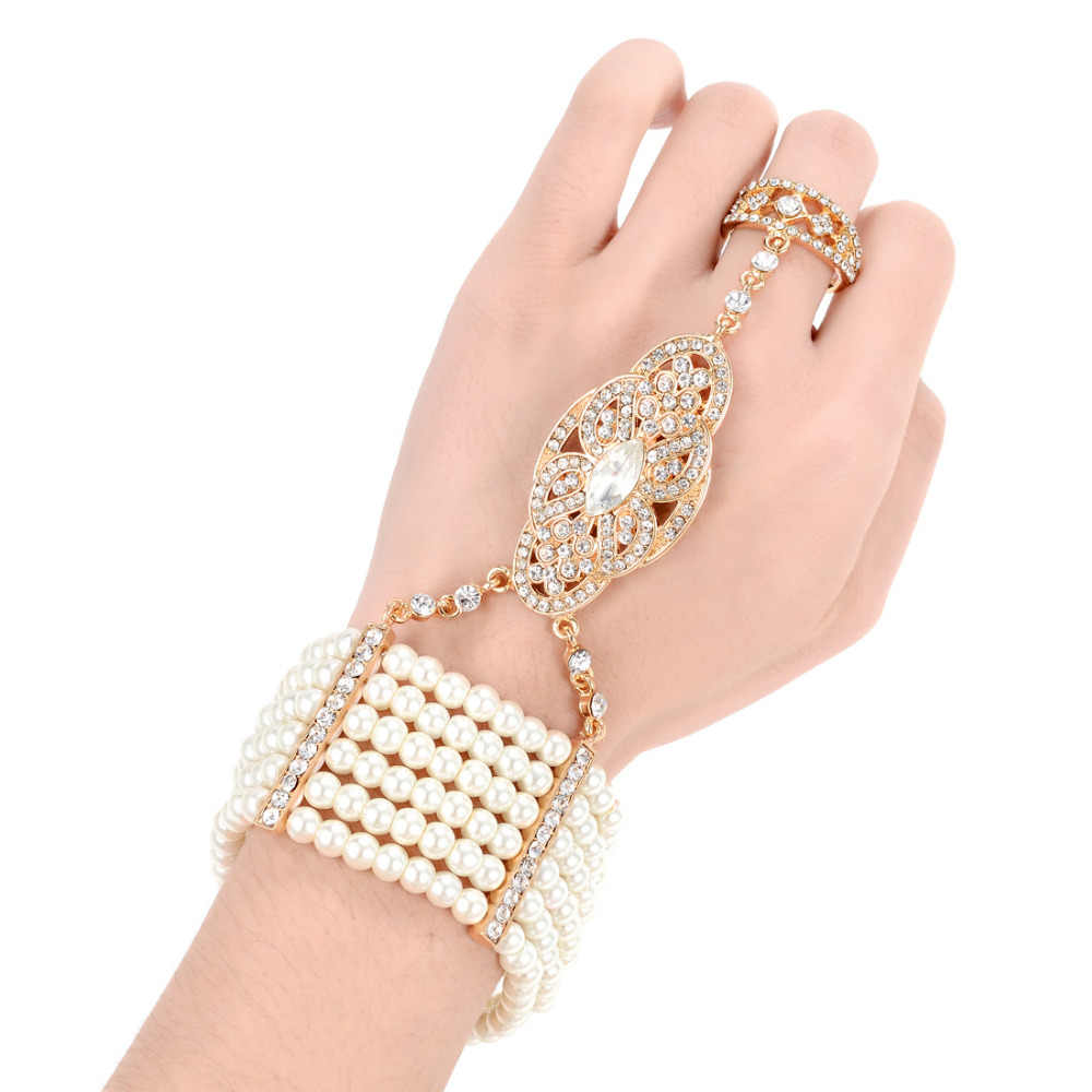 Vintage Simulated Pearl Bracelet Ring Set Stretchy Great Gatsby Inspired Women 1920s Retro Accessories for Wedding Party