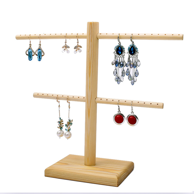 Wood Double T Bar Earrings Display Holder Jewelry Drop Stand
