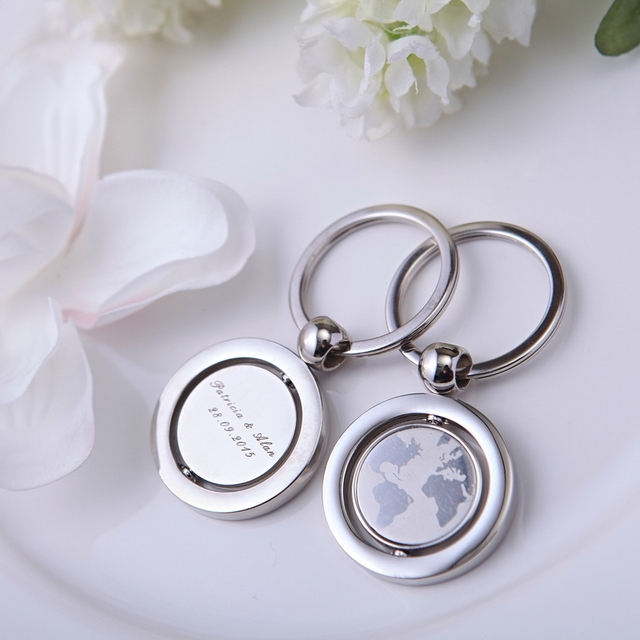 Pcs With World Map Personalized Keychain Wedding Gifts For Guests Customized Wedding Favors Unique Wedding Party