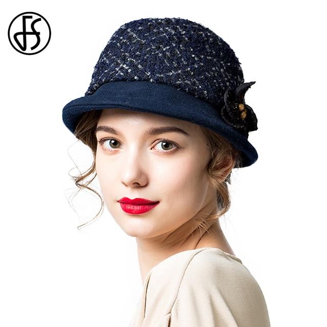 FS Short Brim Elegant Wool Hat For Women Thicken Velvet Liner Cap Flower  Hats Autumn Winter Floppy Basin Caps Black White Brown fdc2c302426