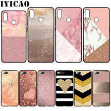 IYICAO Gold Pink rose Glitter Dust Silicone Soft Case for Huawei Y7 Y6 Prime Y9 2018 Honor 8C 8X 8 9 10 Lite 6A 7C 7X 7A Pro(China)