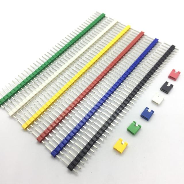 90pcs/lot 2.54 40 Pin 1×40 Single Row Male Breakable Pin Header Connector Strip & Jumper Blocks for Arduino Colorful 2.54mm
