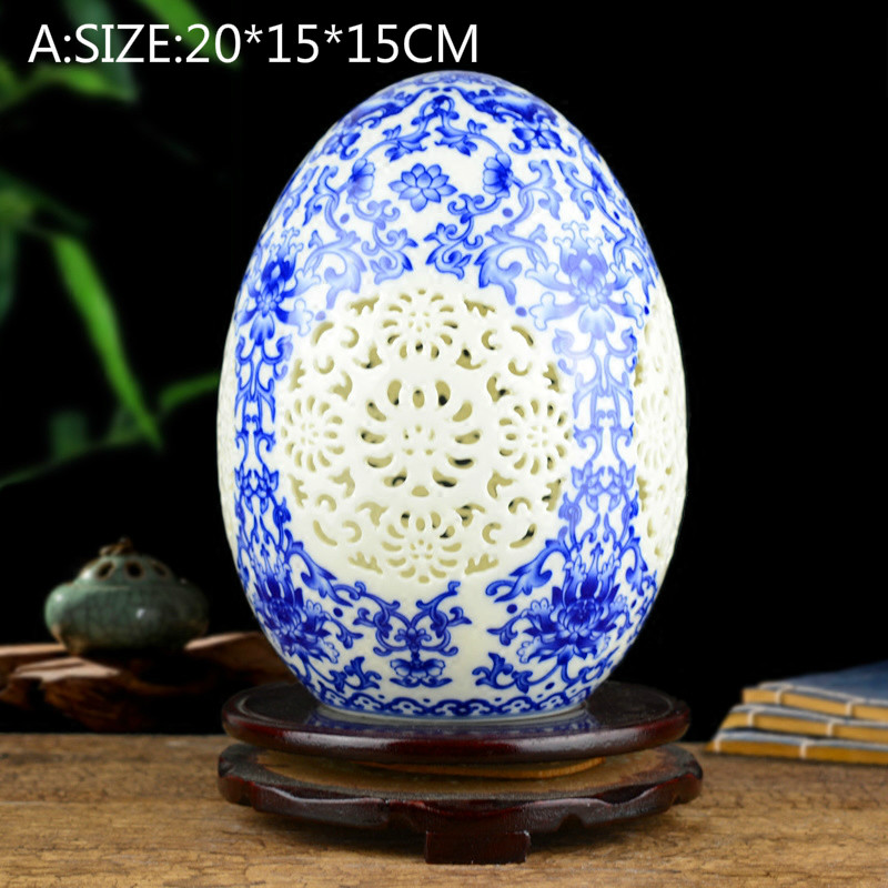1PCS Porcelain blue and white china fine porcelain powder china hollow vase Chinese living room household decorations LU607308