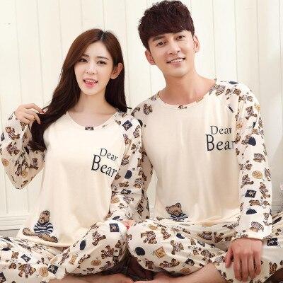 Low Price New 2016 Lovers Pajamas Women Long-sleeved Autumn Thin Pajama Sets Men Pure Couple Pajamas For Men Set Sleepwear Set
