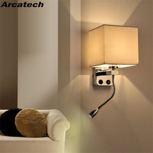 LED Fabric Bedside Wall Lamp With Switch and Flexible Reading Light Headboard Lamp For Hotel Room Bedside Reading Wall Lamp NR51