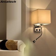 Lampe murale de chevet en tissu, avec interrupteur, lampe de lecture Flexible, tête de lit, chambre dhôtel, lampe de chevet, NR51 LED