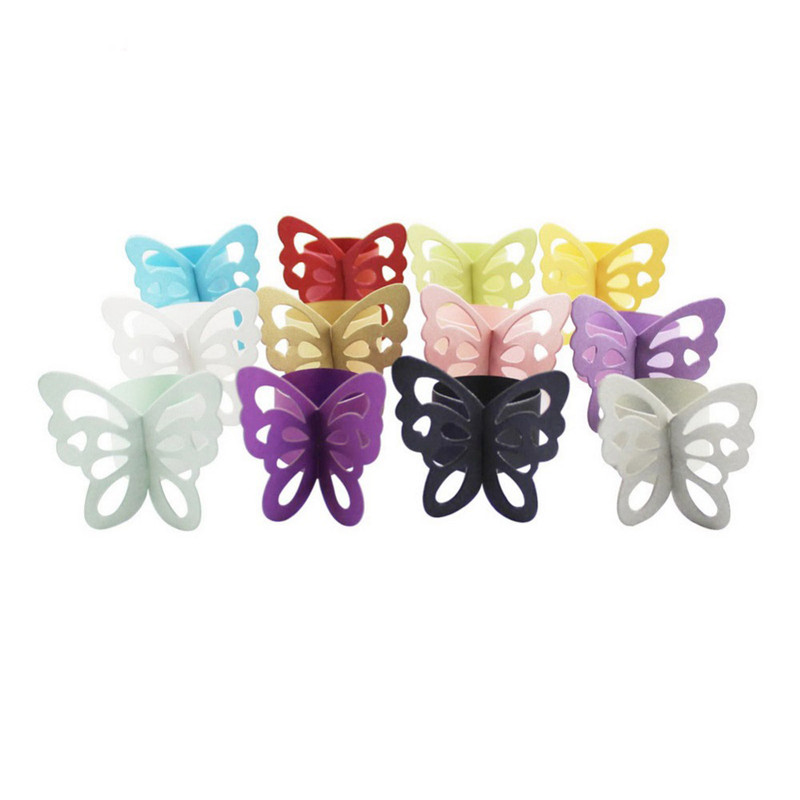 50pcs Butterfly Paper Napkin Rings For Wedding Party Decor Serviette Table Decoration Wedding