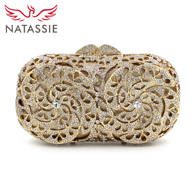 NATASSIE 2017 New Arrival Crystal Evening Bag Women Gold Wedding Clutches Luxury Day Clutch Party Purse Designer Handbags