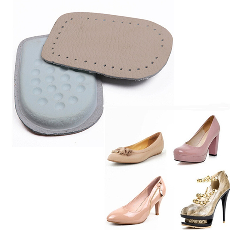 2 Pair/lot Hot Selling Leather Insole Shoes Pads Cushion Heel Cup Insoles Massager Inserts Heel Pain Spur Latex 1 pair heel insoles shoes massage cushion silicone gel inserts pads massager protetor de calcanhar