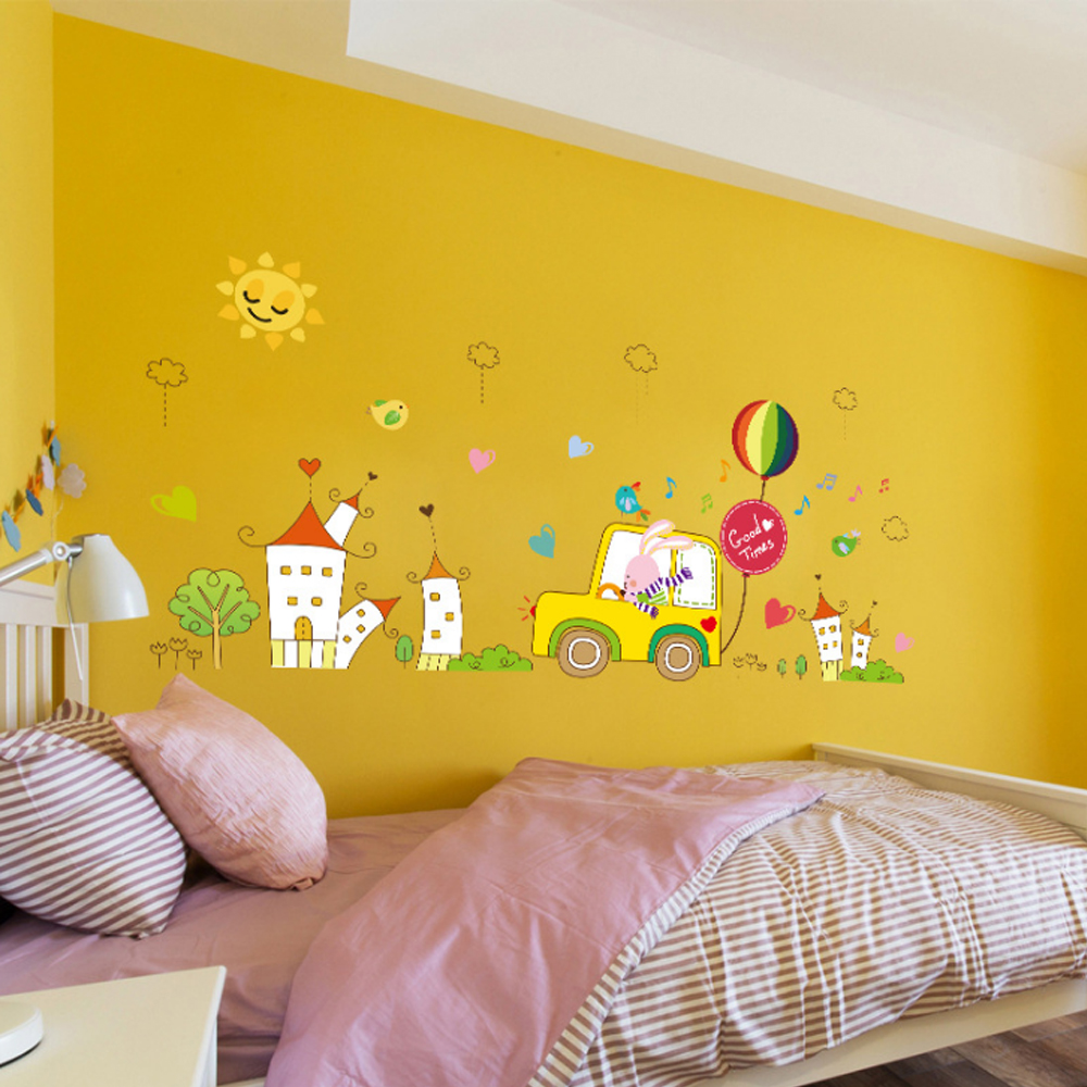 Cartoon Rabbit Car Tree Castle Music Note Wall Decal Home Sticker ...