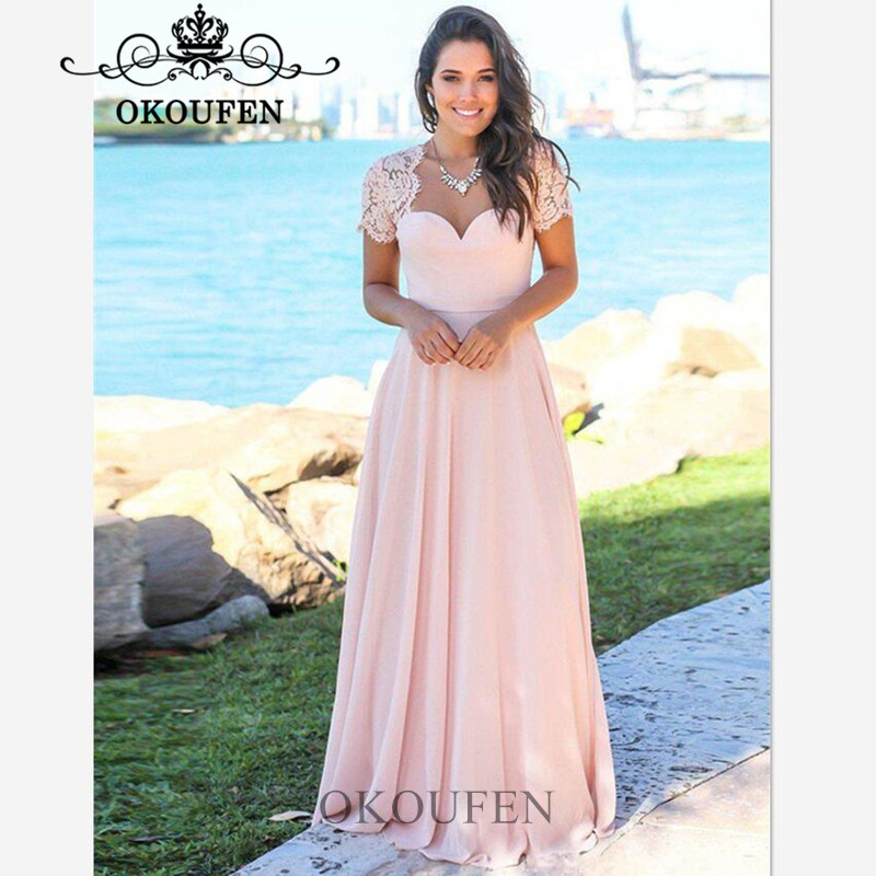 Light Pink Sheer Lace   Prom     Dresses   With Capped Sleeves 2019 Chiffon Backless A Line Long Evening   Dress   For Women