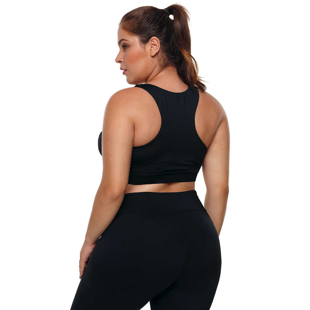 f5d5354e2 ... Large Big Plus Size Fitness Top Female Sport Brassiere Push Up Piping  Trim Padded Women Running