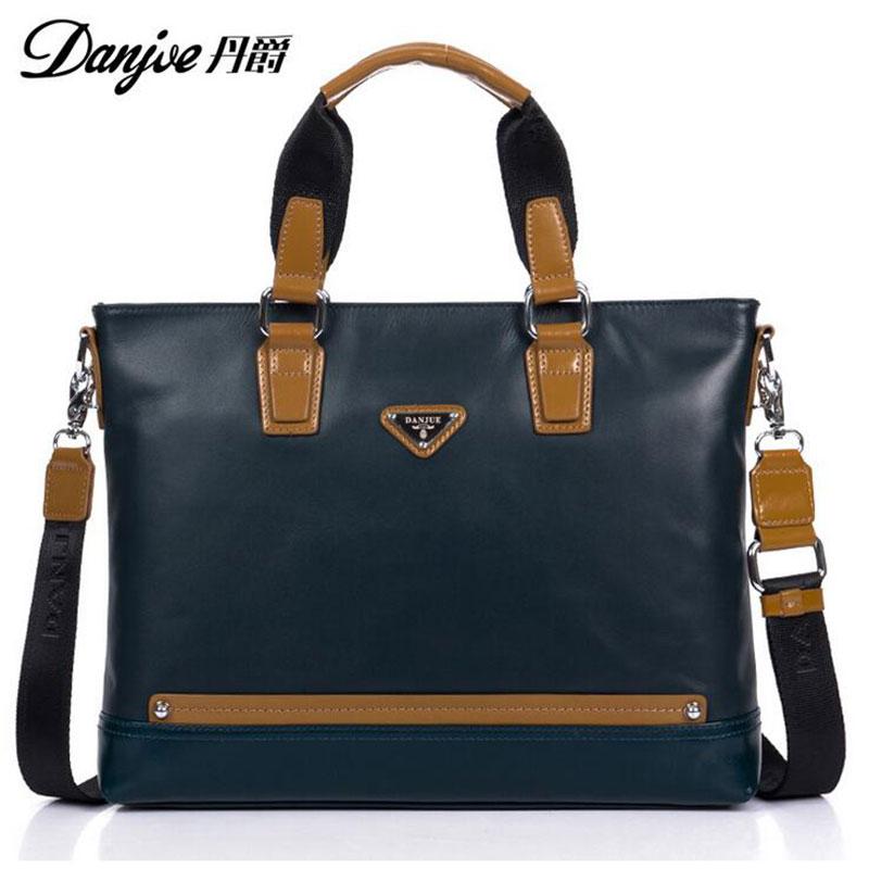 2016 DANJUE British Style For 12 Laptop Fashion Transverse Business Bags High Quality Genuine Cowhide Solid men Laptop bag DJ14