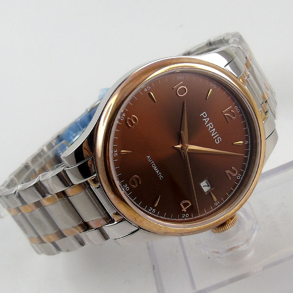 где купить 38mm Parnis brown dial date Luxury Brand Sapphire Glass miyota Automatic Movement men's Watch по лучшей цене