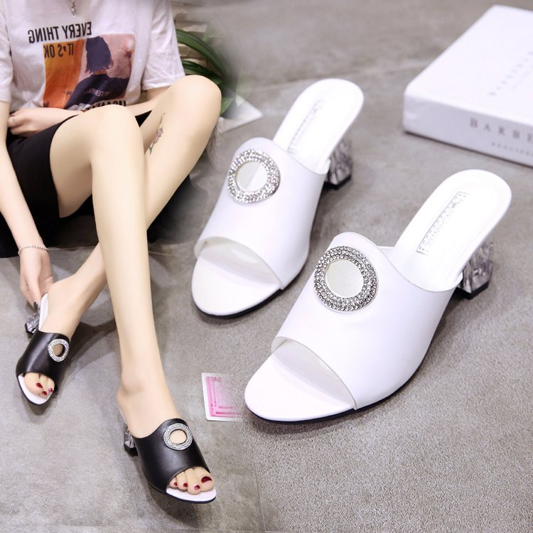 Summer new high-heeled, thick-heeled, fishmouth handmade sandals, crystal-heeled women's shoes