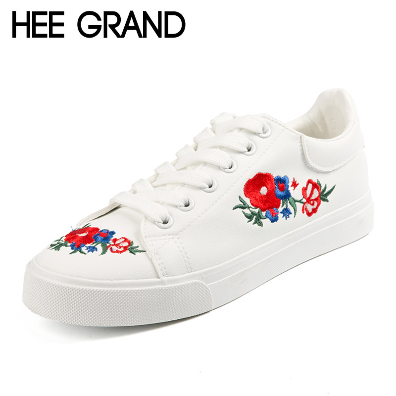 HEE GRAND 2017 Canvas Shoes Woman Platform Loafers Embroider Creepers Spring Lace-Up Flats Casual Flowers Women Shoes XWF533 genuine natural jade seat cushion germanium tourmaline heated mat jade health care physical therapy mat 45x45cm free shipping