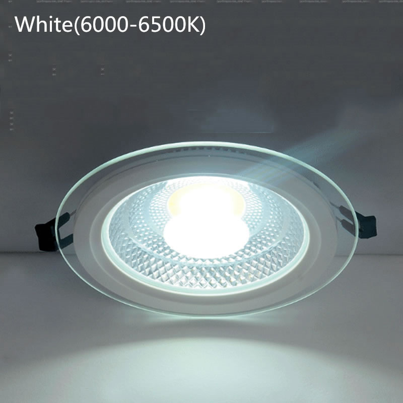 SPLEVISI 2PCS/Lot AC85-265V glass led COB panel light 5W 10W 15W LED Ceiling Recessed Light LED Downlight COB Home lighting