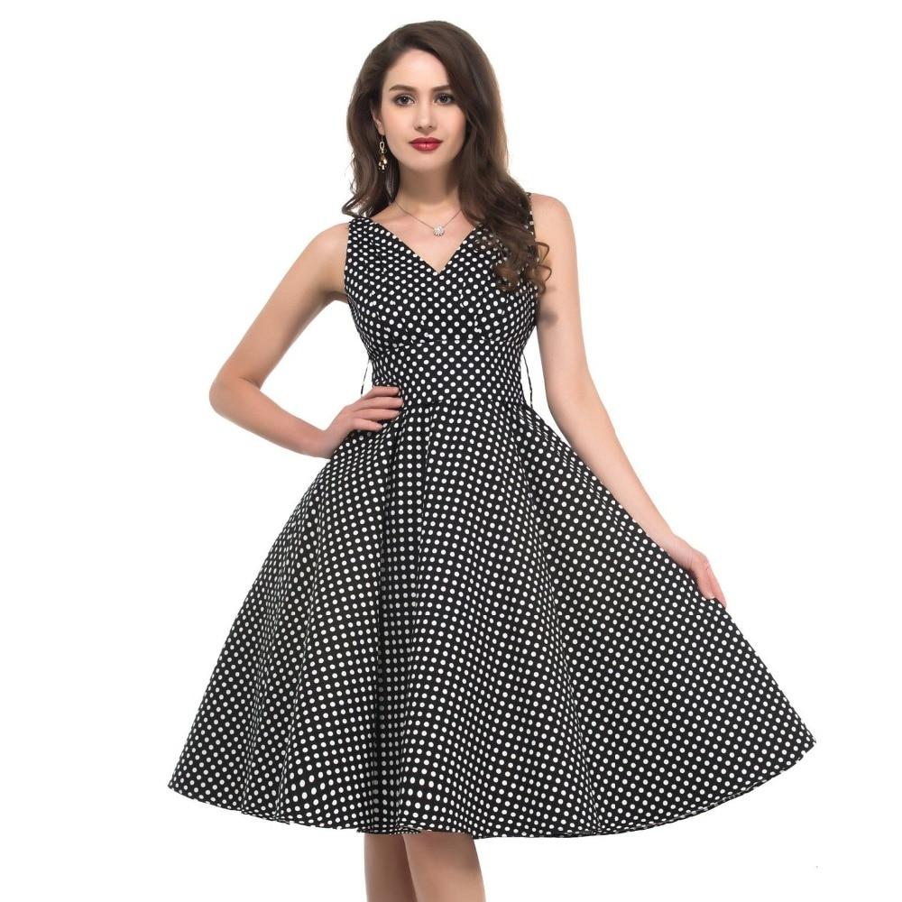 audrey hepburn style vintage polka dots v neck big swing