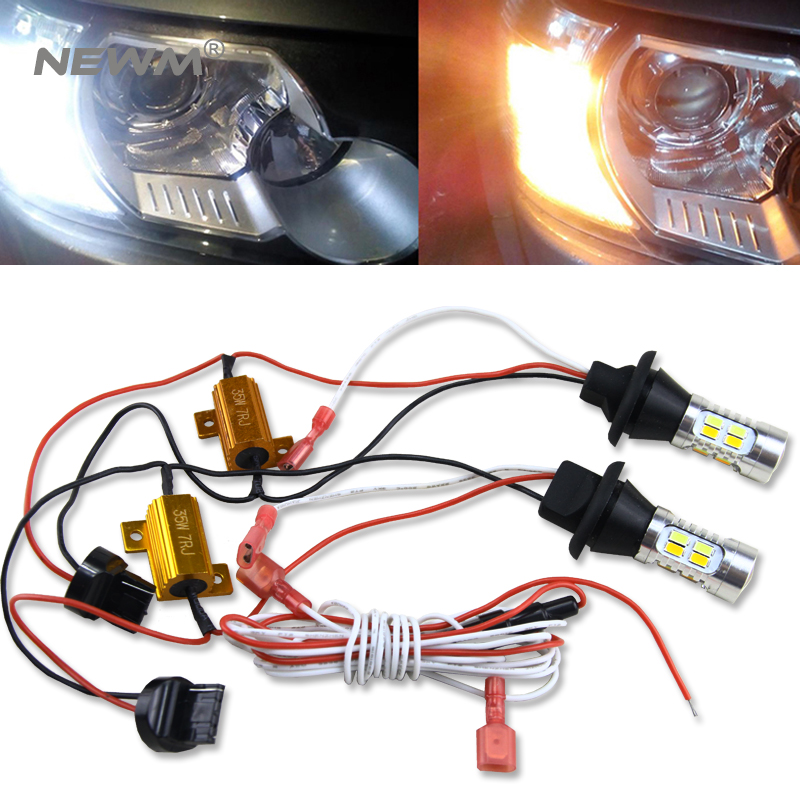 T20 7440 For toyota Prius 2008-2014 LED DRL Daytime Running Lights DRL&Front Turn Signals all in one tcart 1set auto led lamps drl daytime running lights night time running light yellow turn signals t20 7440 for mazda 2 2014 2017