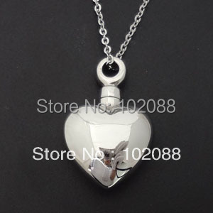 high polishing heart shaped ash cremation stainless steel pendants