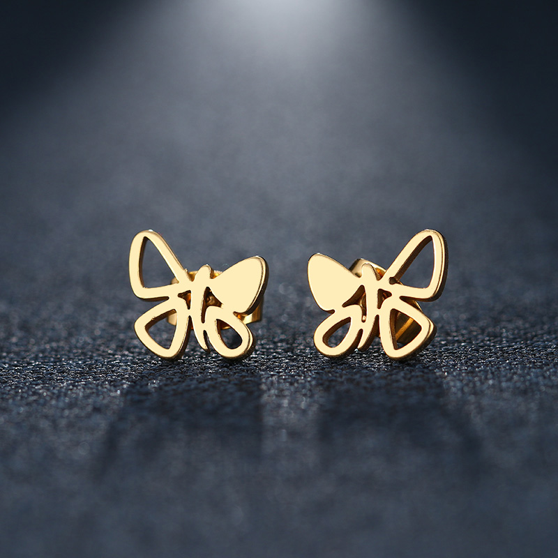 CACANA Stainless Steel Stud Earring For Women Man Pretty Butterfly Gold And Silver Color ...